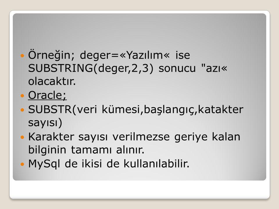 Örneğin; deger=«Yazılım« ise SUBSTRING(deger,2,3) sonucu azı« olacaktır.