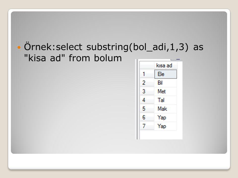 Örnek:select substring(bol_adi,1,3) as kisa ad from bolum