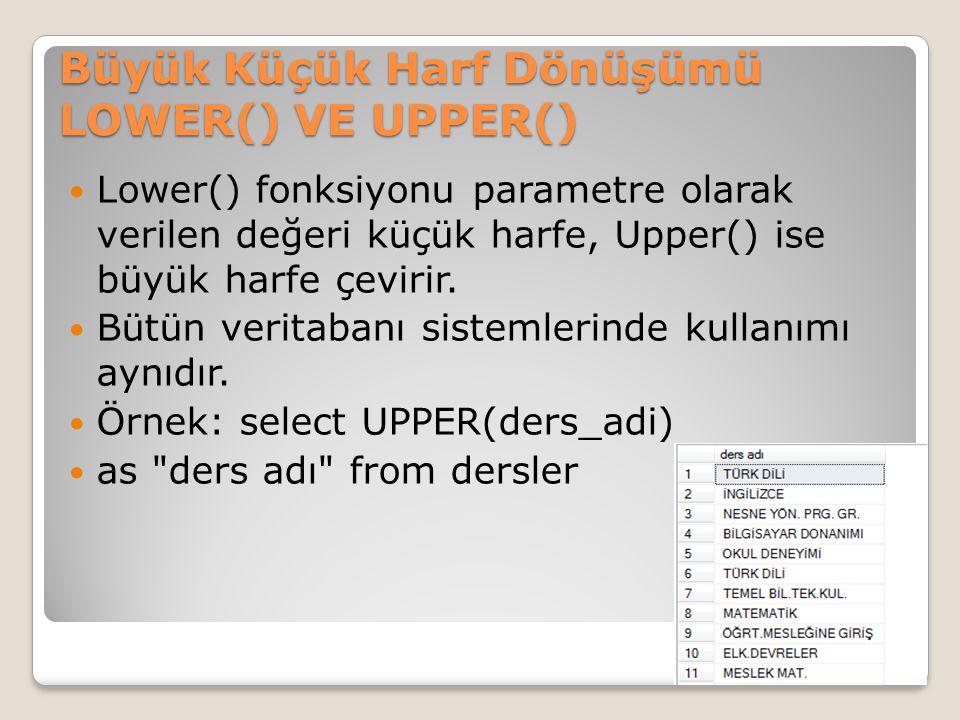 Büyük Küçük Harf Dönüşümü LOWER() VE UPPER()