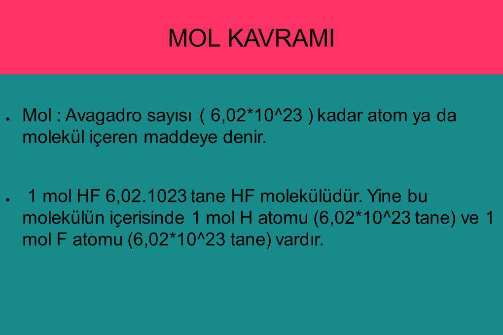 MOL KAVRAMI Mol : Avagadro sayısı ( 6,02*10^23 ) kadar atom ya da molekül içeren maddeye denir.