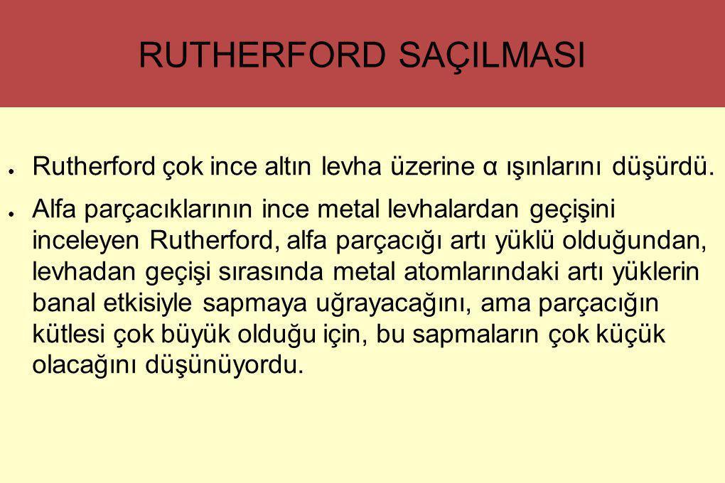 RUTHERFORD SAÇILMASI Rutherford çok ince altın levha üzerine α ışınlarını düşürdü.