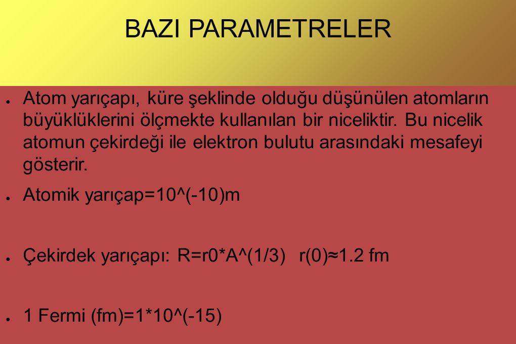 BAZI PARAMETRELER