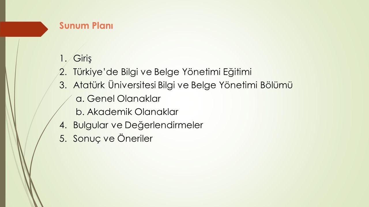 Sunum Planı 1. Giriş. 2. Türkiye'de Bilgi ve Belge Yönetimi Eğitimi. 3. Atatürk Üniversitesi Bilgi ve Belge Yönetimi Bölümü.