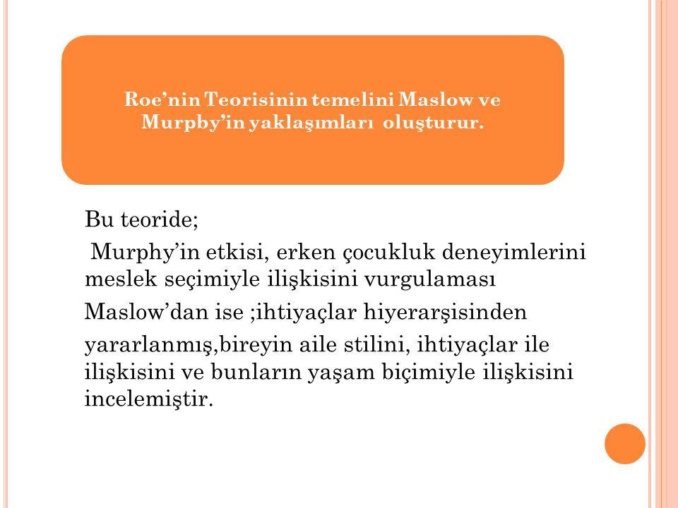 Roe'nin Teorisinin temelini Maslow ve Murpby'in yaklaşımları oluşturur.