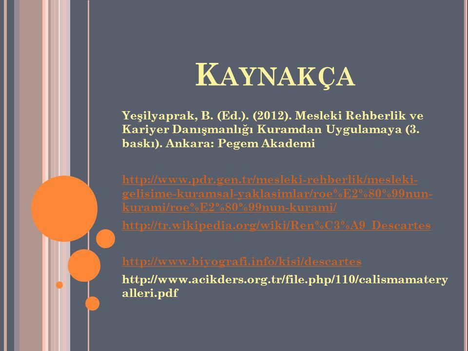 Kaynakça Yeşilyaprak, B. (Ed.). (2012). Mesleki Rehberlik ve Kariyer Danışmanlığı Kuramdan Uygulamaya (3. baskı). Ankara: Pegem Akademi.
