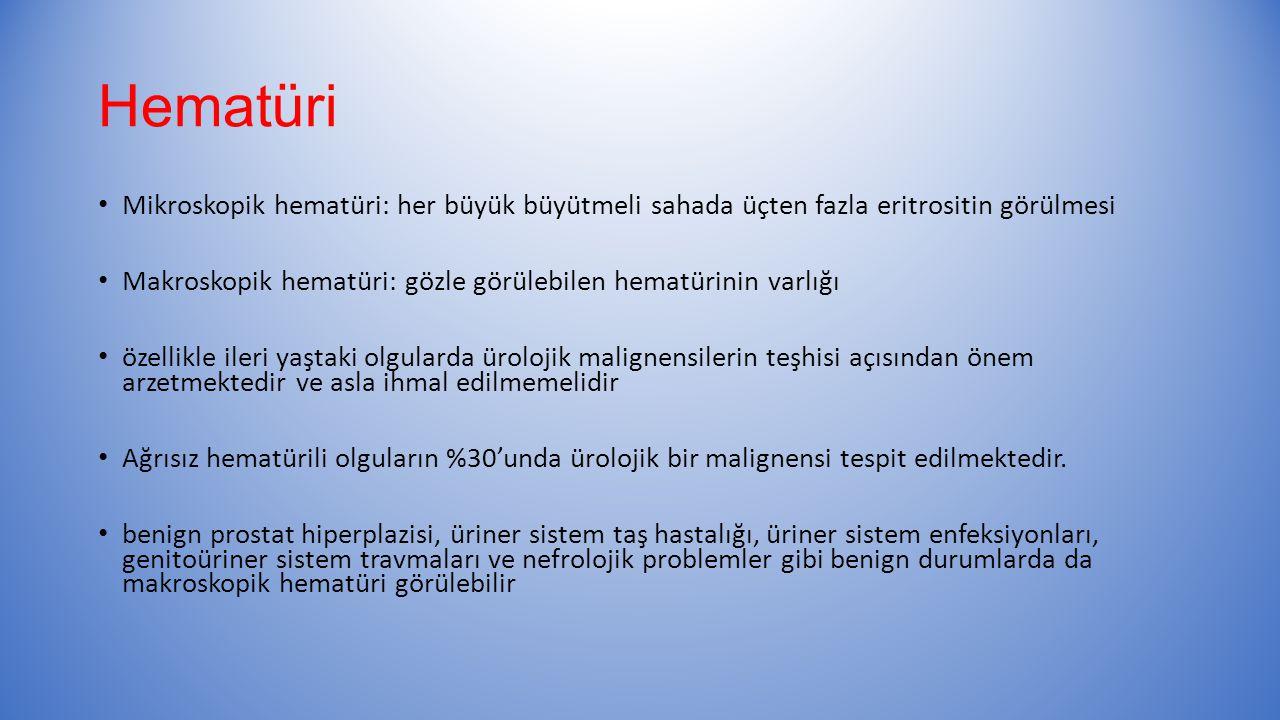 Hematüri Mikroskopik hematüri: her büyük büyütmeli sahada üçten fazla eritrositin görülmesi.