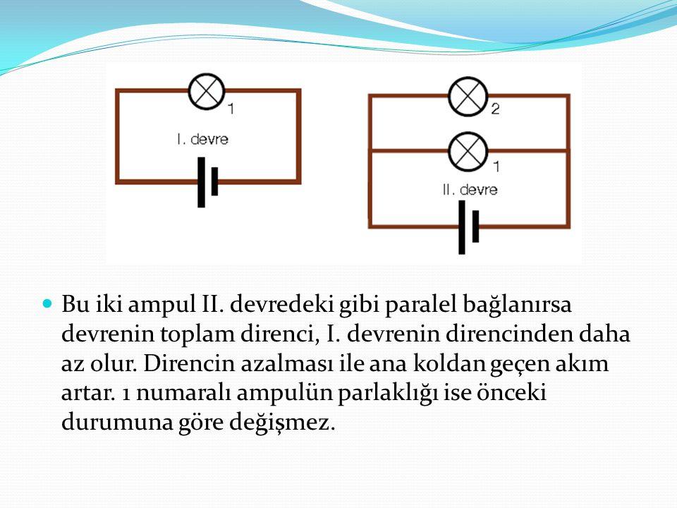 Bu iki ampul II. devredeki gibi paralel bağlanırsa devrenin toplam direnci, I.