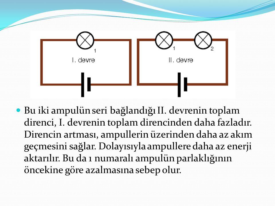 Bu iki ampulün seri bağlandığı II. devrenin toplam direnci, I