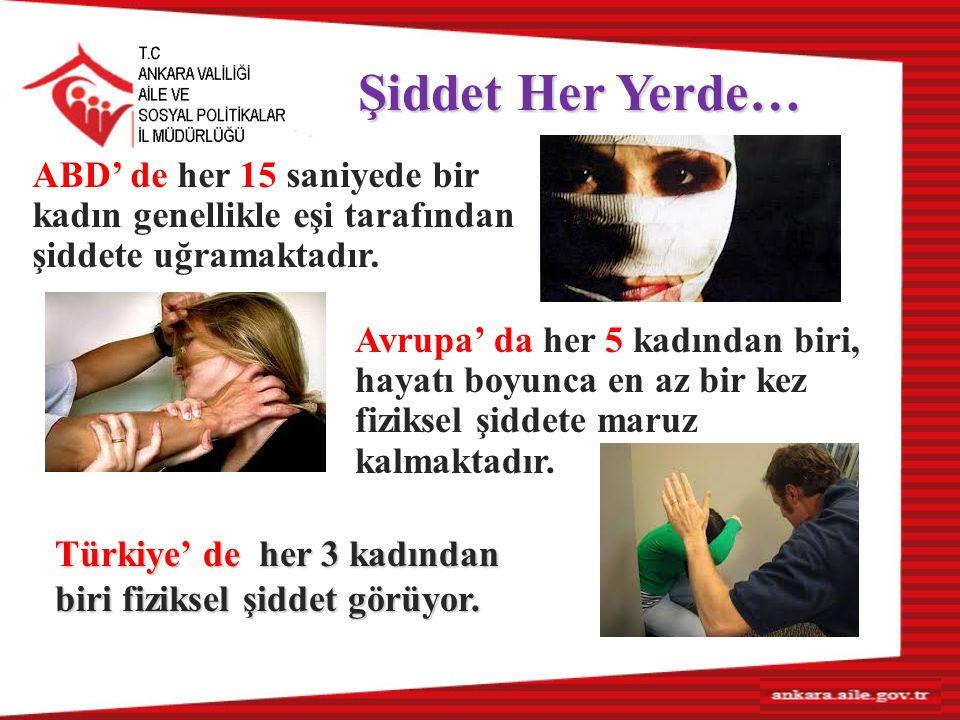 Şiddet Her Yerde… ABD' de her 15 saniyede bir kadın genellikle eşi tarafından şiddete uğramaktadır.