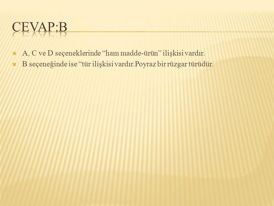 CEVAP:B A, C ve D seçeneklerinde ham madde-ürün ilişkisi vardır.