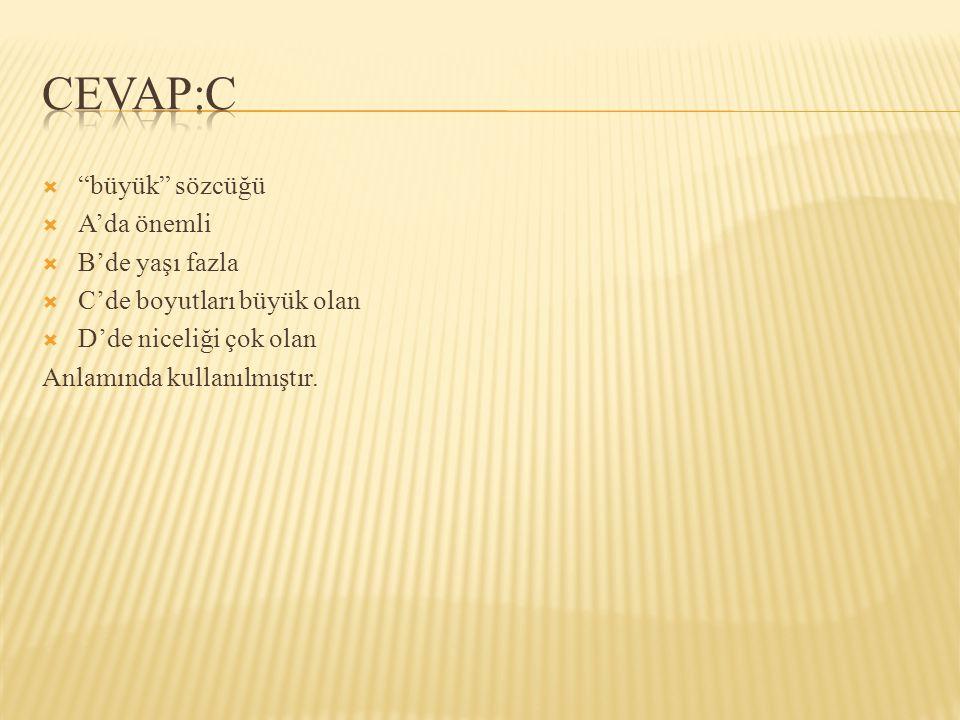 CEVAP:C büyük sözcüğü A'da önemli B'de yaşı fazla