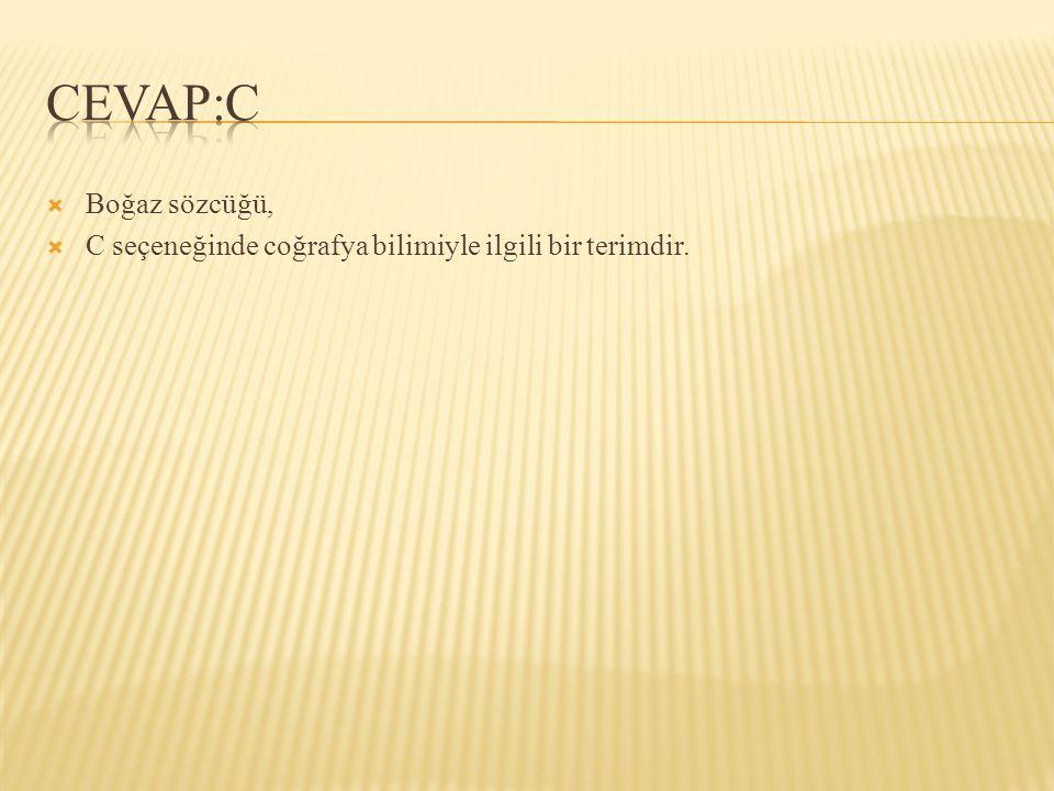 CEVAP:C Boğaz sözcüğü, C seçeneğinde coğrafya bilimiyle ilgili bir terimdir.