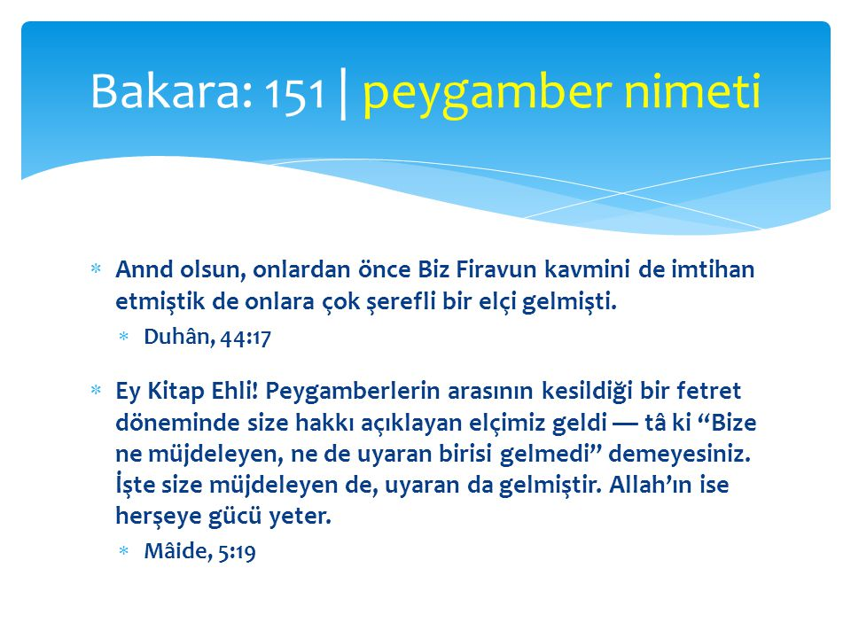 Bakara: 151 | peygamber nimeti
