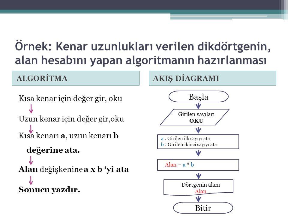 Örnek: Kenar uzunlukları verilen dikdörtgenin, alan hesabını yapan algoritmanın hazırlanması