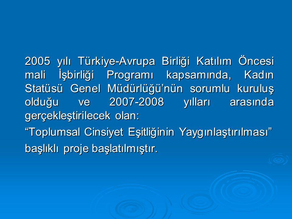 2005 yılı Türkiye-Avrupa Birliği Katılım Öncesi mali İşbirliği Programı kapsamında, Kadın Statüsü Genel Müdürlüğü'nün sorumlu kuruluş olduğu ve 2007-2008 yılları arasında gerçekleştirilecek olan: Toplumsal Cinsiyet Eşitliğinin Yaygınlaştırılması başlıklı proje başlatılmıştır.