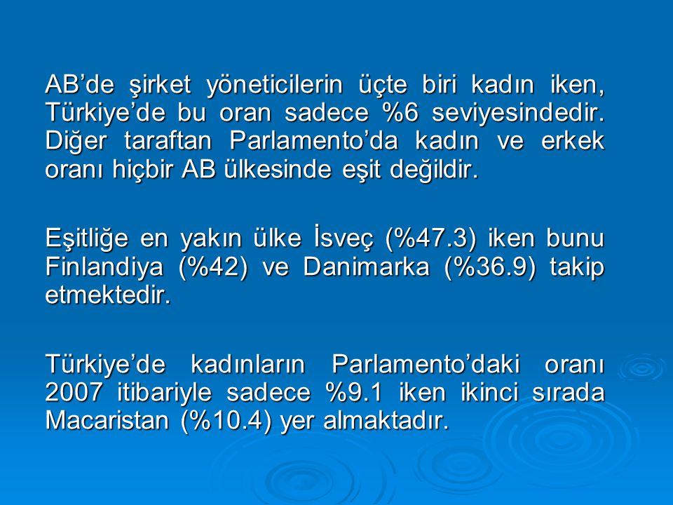 AB'de şirket yöneticilerin üçte biri kadın iken, Türkiye'de bu oran sadece %6 seviyesindedir.