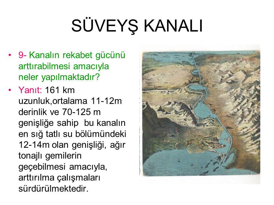 SÜVEYŞ KANALI 9- Kanalın rekabet gücünü arttırabilmesi amacıyla neler yapılmaktadır