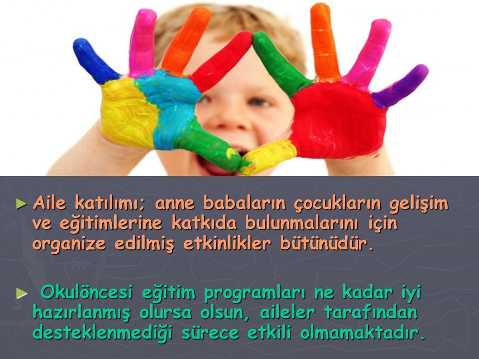 Aile katılımı; anne babaların çocukların gelişim ve eğitimlerine katkıda bulunmalarını için organize edilmiş etkinlikler bütünüdür.