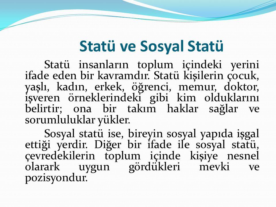 Statü ve Sosyal Statü