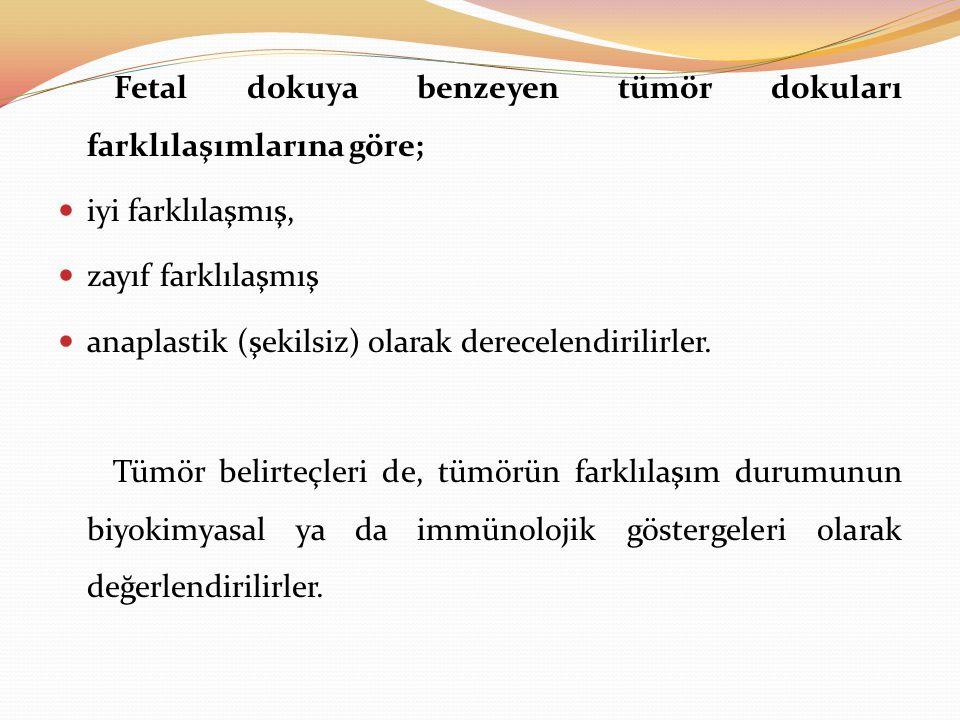 Fetal dokuya benzeyen tümör dokuları farklılaşımlarına göre;