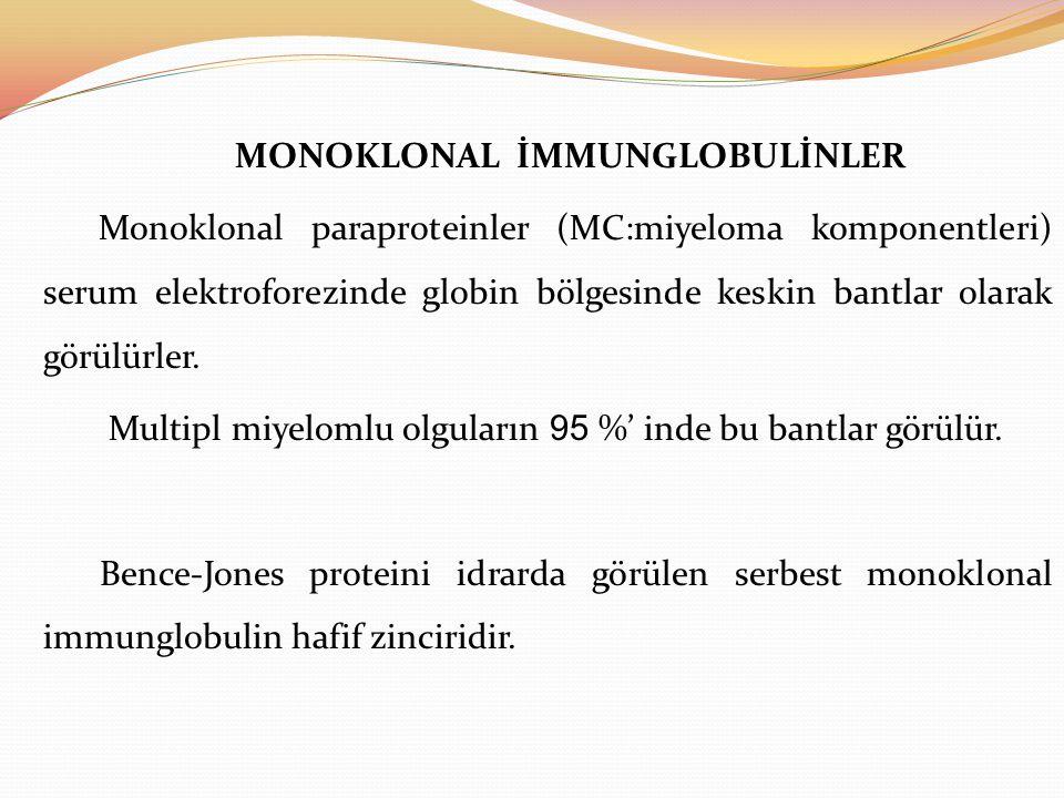 MONOKLONAL İMMUNGLOBULİNLER Monoklonal paraproteinler (MC:miyeloma komponentleri) serum elektroforezinde globin bölgesinde keskin bantlar olarak görülürler.