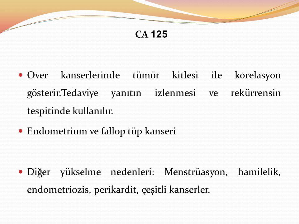 CA 125 Over kanserlerinde tümör kitlesi ile korelasyon gösterir.Tedaviye yanıtın izlenmesi ve rekürrensin tespitinde kullanılır.