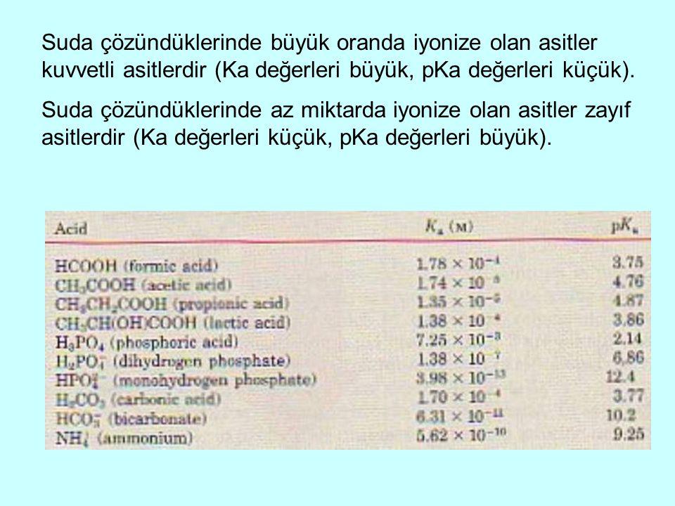 Suda çözündüklerinde büyük oranda iyonize olan asitler kuvvetli asitlerdir (Ka değerleri büyük, pKa değerleri küçük).