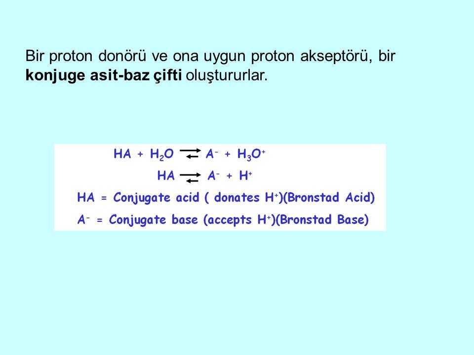 Bir proton donörü ve ona uygun proton akseptörü, bir konjuge asit-baz çifti oluştururlar.
