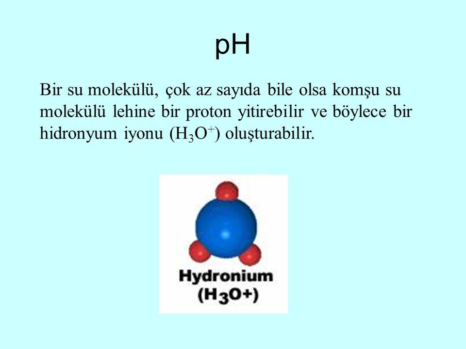 pH Bir su molekülü, çok az sayıda bile olsa komşu su molekülü lehine bir proton yitirebilir ve böylece bir hidronyum iyonu (H3O+) oluşturabilir.