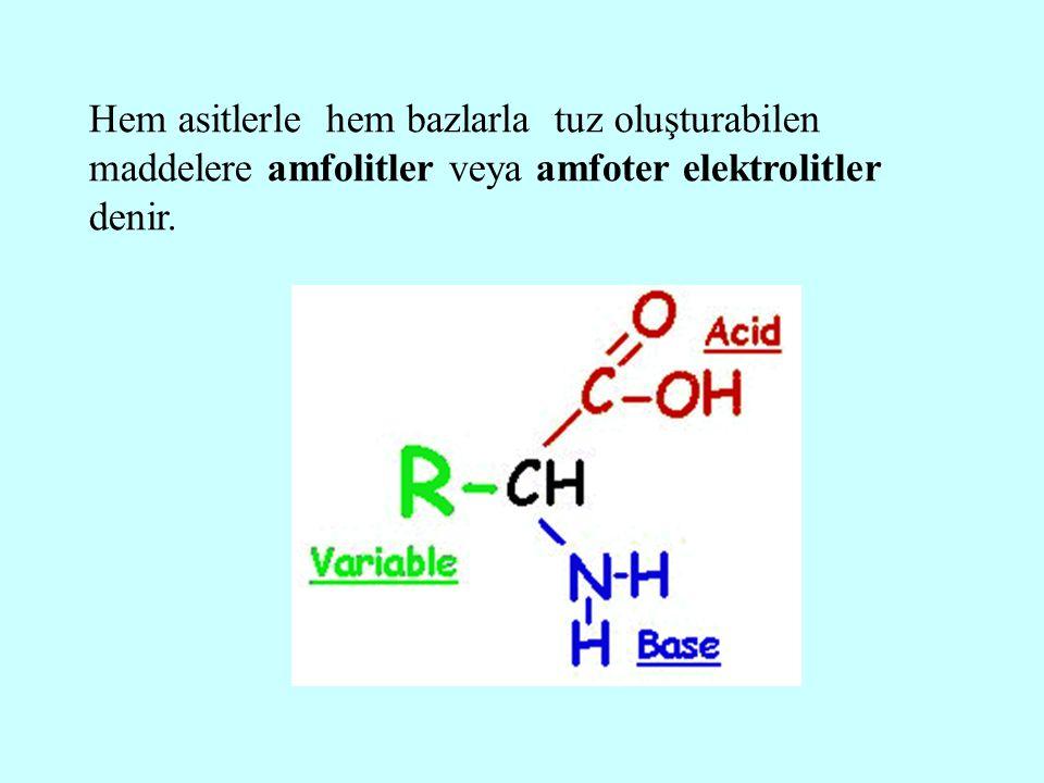 Hem asitlerle hem bazlarla tuz oluşturabilen maddelere amfolitler veya amfoter elektrolitler denir.