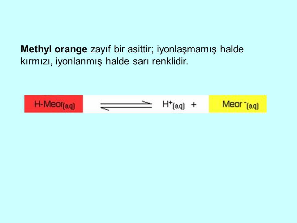 Methyl orange zayıf bir asittir; iyonlaşmamış halde kırmızı, iyonlanmış halde sarı renklidir.