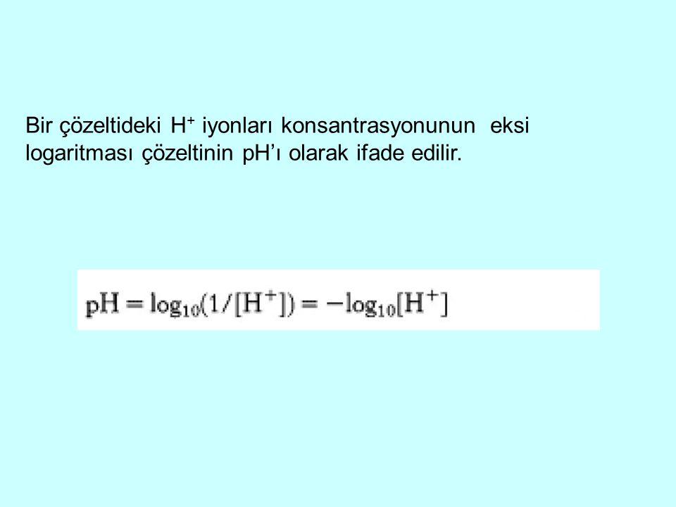 Bir çözeltideki H+ iyonları konsantrasyonunun eksi logaritması çözeltinin pH'ı olarak ifade edilir.