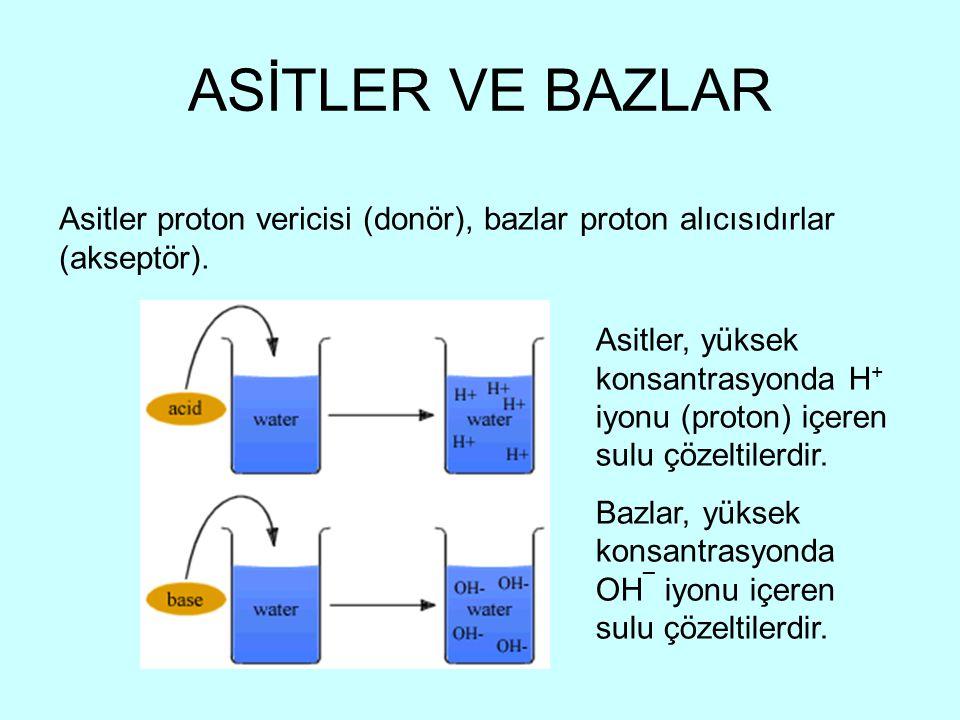 ASİTLER VE BAZLAR Asitler proton vericisi (donör), bazlar proton alıcısıdırlar (akseptör).