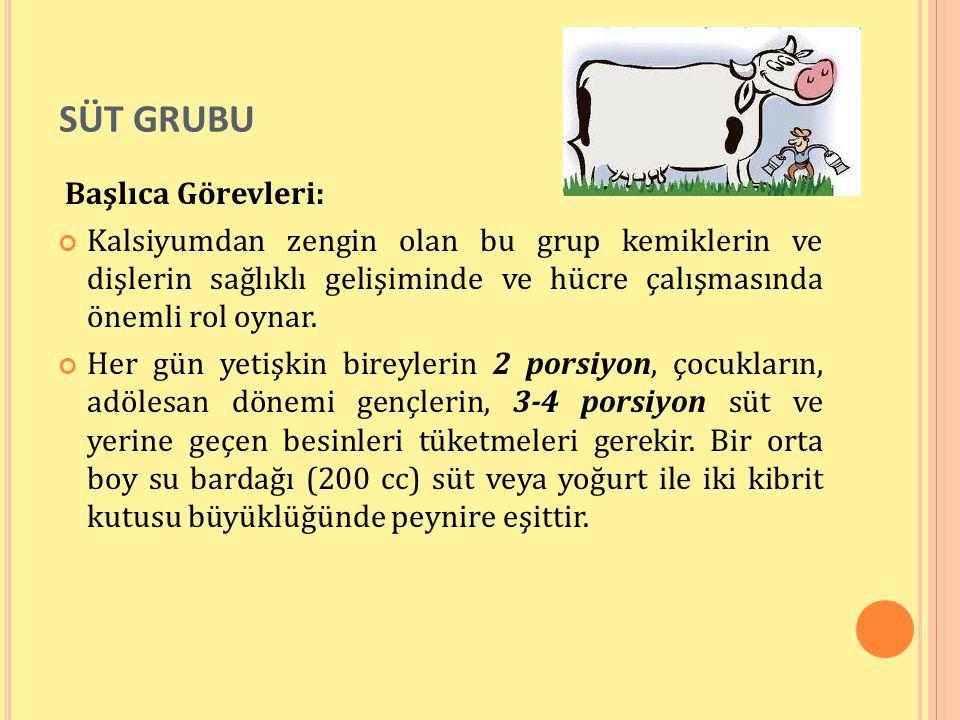 Süt Grubu Başlıca Görevleri: