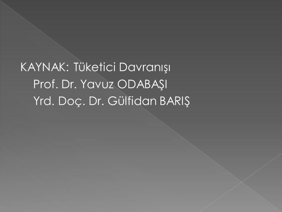 KAYNAK: Tüketici Davranışı Prof. Dr. Yavuz ODABAŞI Yrd. Doç. Dr