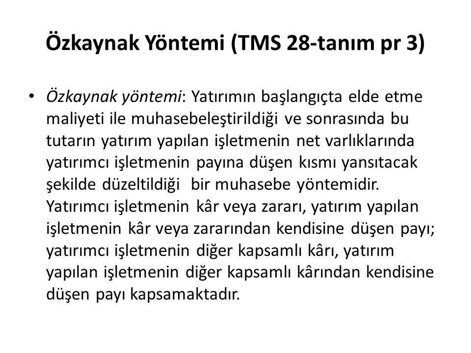 Özkaynak Yöntemi (TMS 28-tanım pr 3)