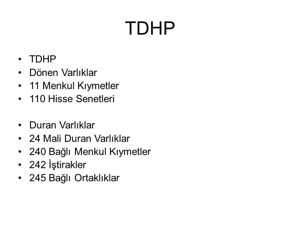 TDHP TDHP Dönen Varlıklar 11 Menkul Kıymetler 110 Hisse Senetleri