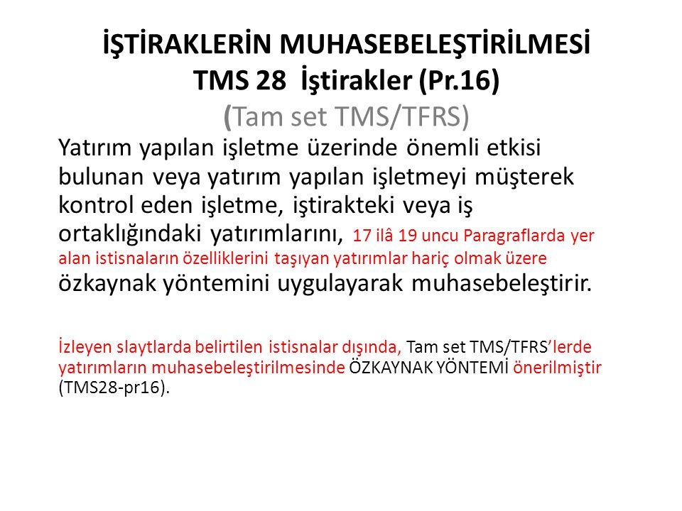 İŞTİRAKLERİN MUHASEBELEŞTİRİLMESİ TMS 28 İştirakler (Pr