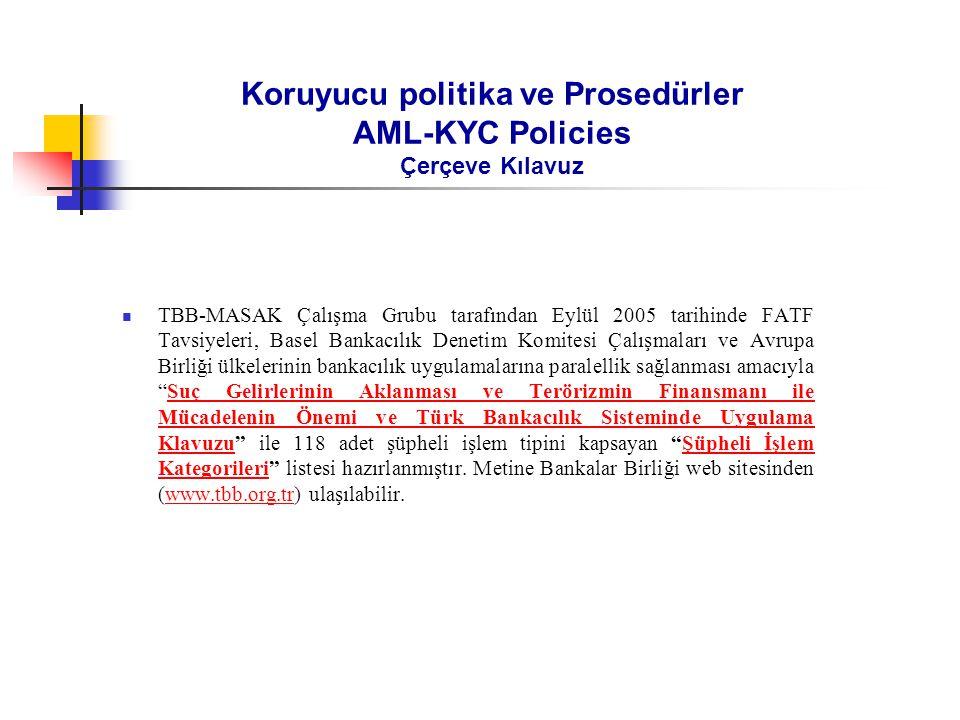Koruyucu politika ve Prosedürler AML-KYC Policies Çerçeve Kılavuz