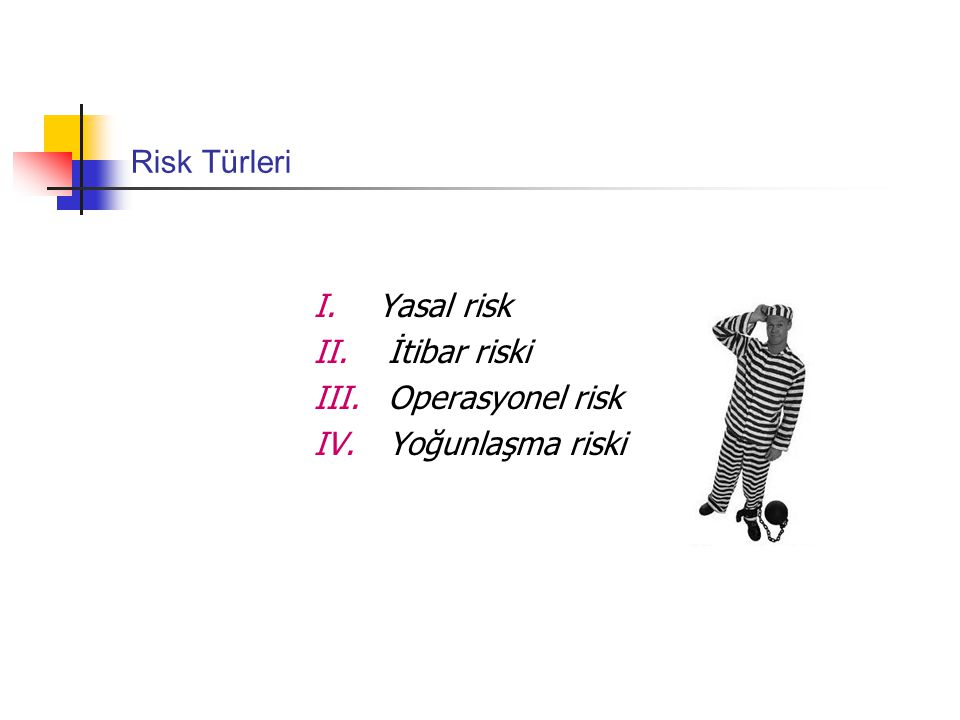 Risk Türleri Yasal risk İtibar riski Operasyonel risk Yoğunlaşma riski