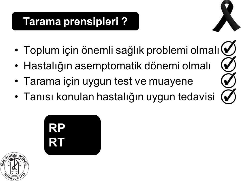 RP RT Tarama prensipleri Toplum için önemli sağlık problemi olmalı