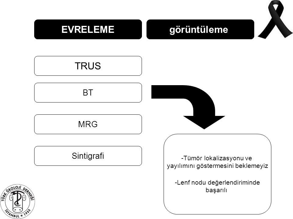 EVRELEME görüntüleme TRUS BT MRG Sintigrafi Tümör lokalizasyonu ve