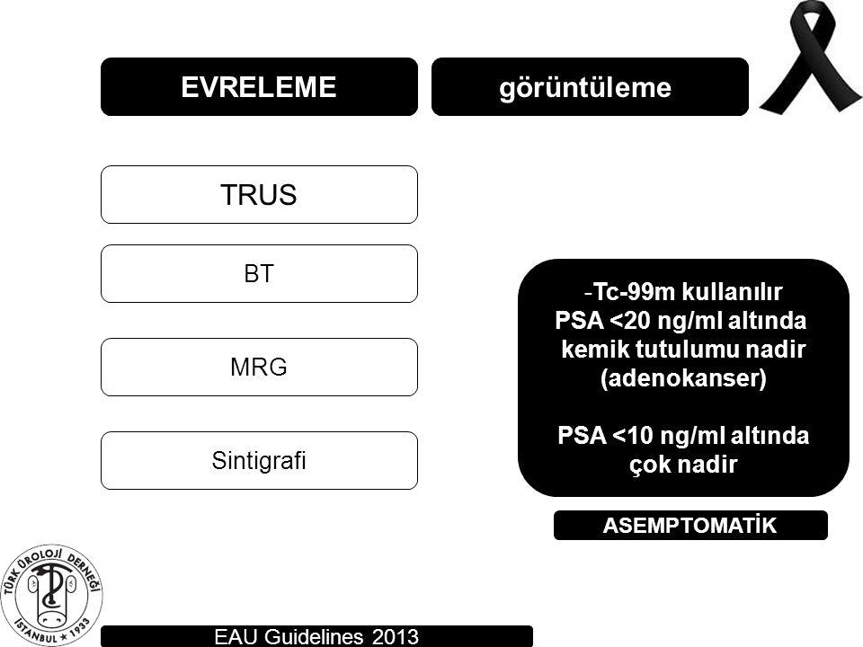 EVRELEME görüntüleme TRUS BT Tc-99m kullanılır