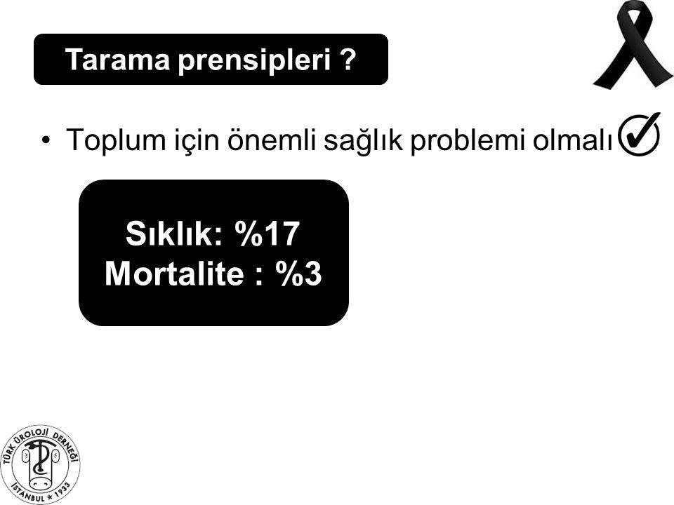 Sıklık: %17 Mortalite : %3 Tarama prensipleri