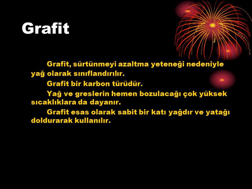 Grafit Grafit, sürtünmeyi azaltma yeteneği nedeniyle yağ olarak sınıflandırılır. Grafit bir karbon türüdür.