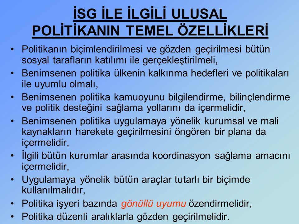 İSG İLE İLGİLİ ULUSAL POLİTİKANIN TEMEL ÖZELLİKLERİ