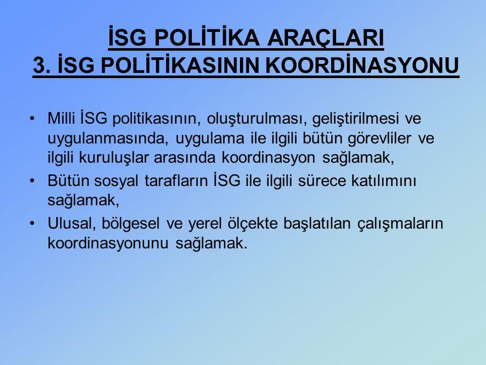 İSG POLİTİKA ARAÇLARI 3. İSG POLİTİKASININ KOORDİNASYONU
