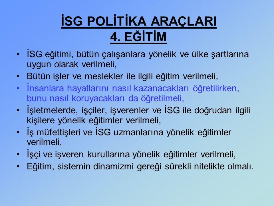 İSG POLİTİKA ARAÇLARI 4. EĞİTİM