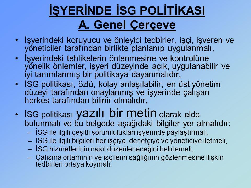 İŞYERİNDE İSG POLİTİKASI A. Genel Çerçeve