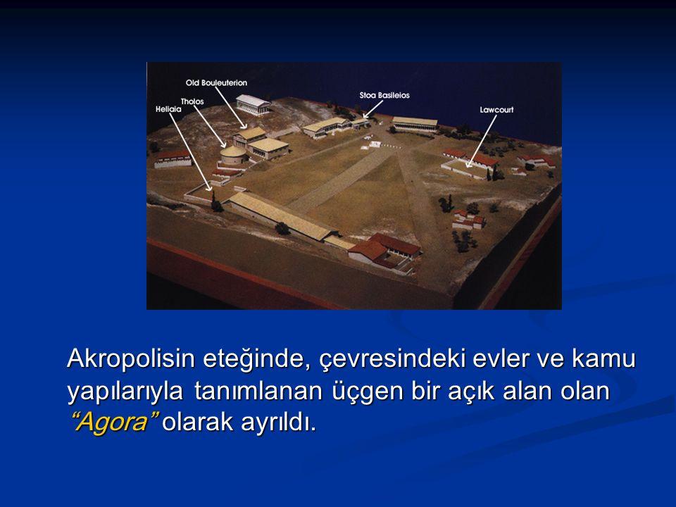 Akropolisin eteğinde, çevresindeki evler ve kamu yapılarıyla tanımlanan üçgen bir açık alan olan Agora olarak ayrıldı.